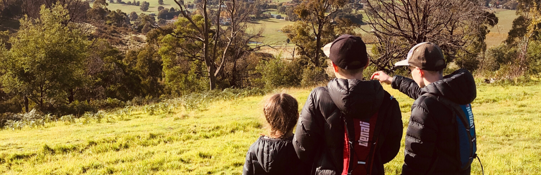 A photo of three children looking out across the Yarra Valley