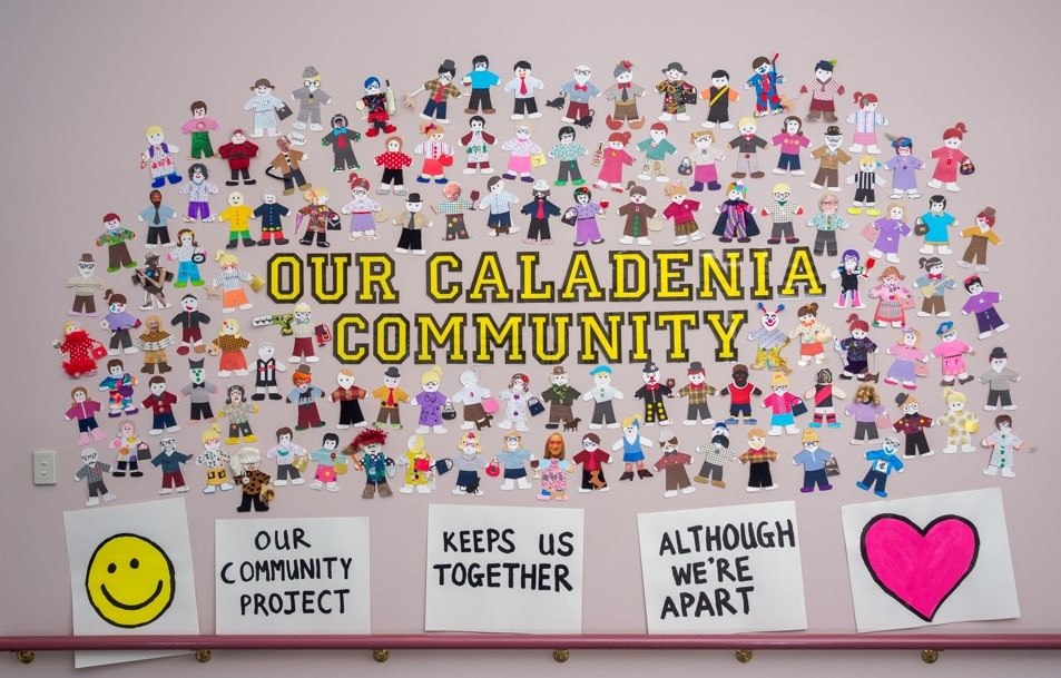 Staff, volunteers, clients and their carers and families all felt very isolated and disconnected from Caladenia and each other when lock down first started. Through innovative programs we have reconnected, culminating in this artwork.