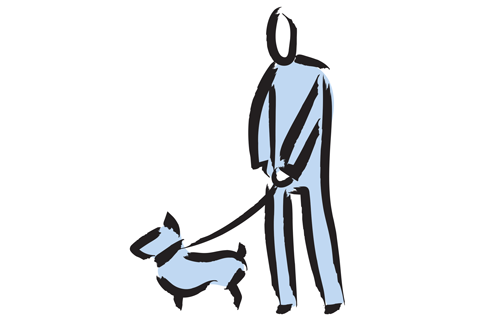 Sketch of person walking a dog