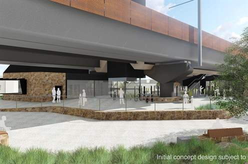 An artist's interpretation of the Lilydale Station forecourt. Subject to change.