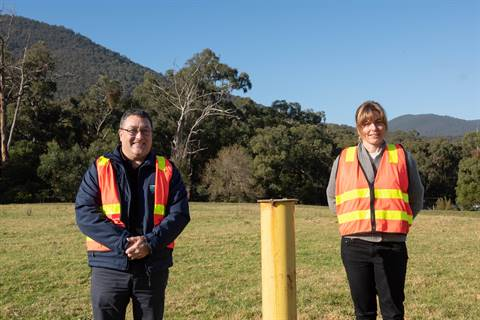 Mayor Richard Higgins and Coordinator of Sustainability Jessica Rae at the Healesville landfill.