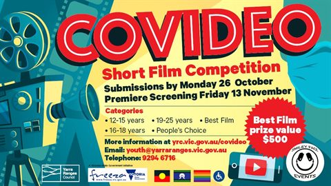 A flyer with details about the CoVideo Film Competition.