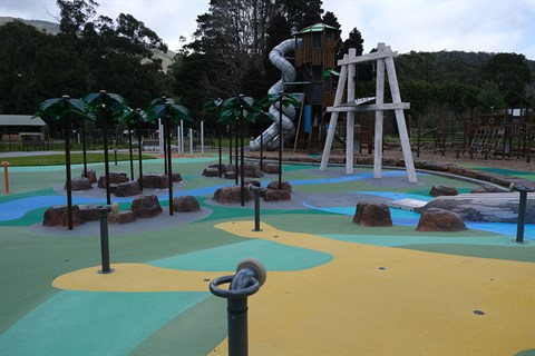 Play equipment at the Warburton Water World, opening in late 2020.