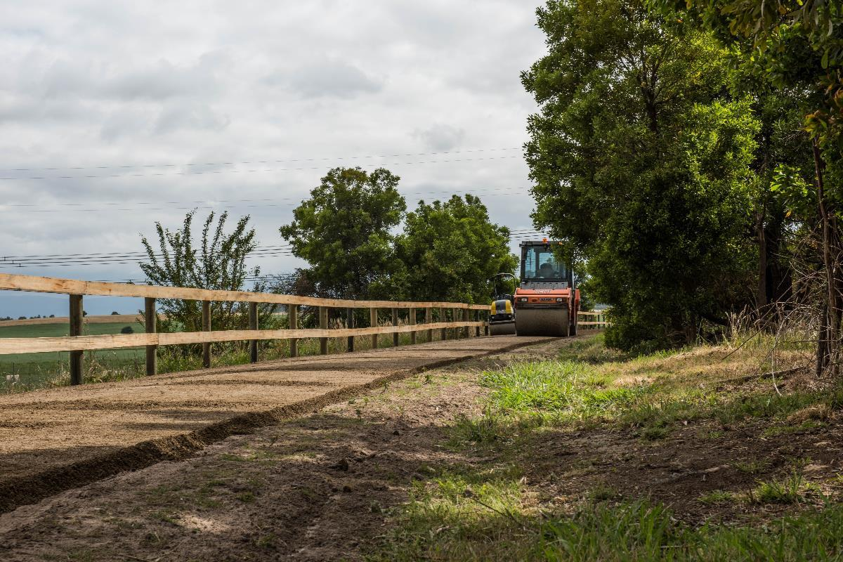 A steamroller flattening sections of the Yarra Valley Trail in December, 2019.