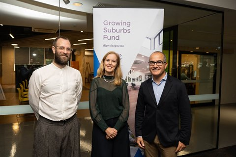 Burrinja CEO Gareth Hart, Mayor Fiona McAllister and James Merlino MP at the opening of the newly-redeveloped Burrinja Cultural Centre.