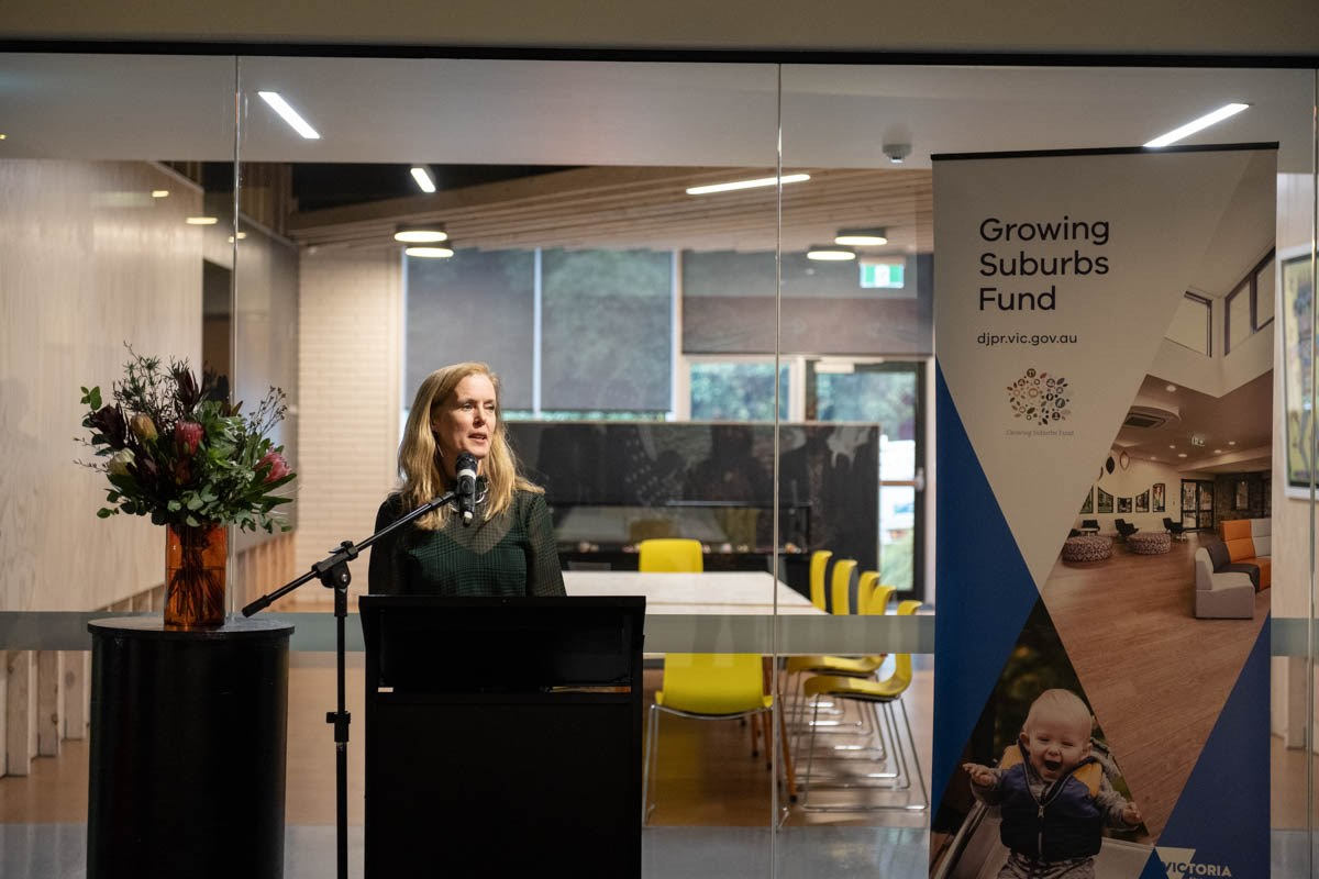 Mayor Fiona McAllister speaking at the opening of the newly-redeveloped Burrinja Cultural Centre.