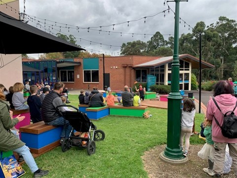 People gathering to watch a show at the Healesville Entertainment Precinct.