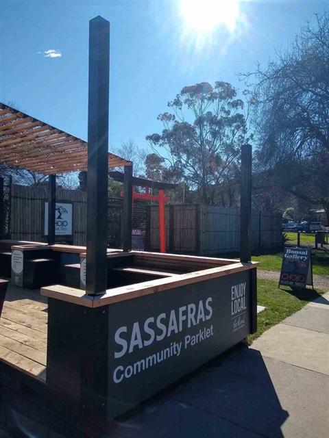 A photo of the Sassafras Parklet.