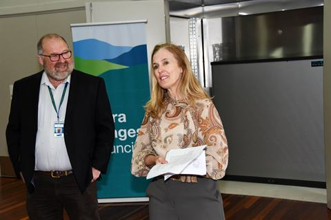 Mayor Fiona McAllister (right) with Julian Guess (left) at the unveiling of Council's new battery solar power storage system. Photo courtesy of Star Mail News photographer, Stewart Chambers.
