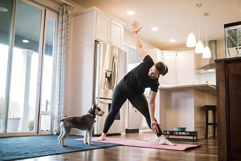 Person exercising at home with puppy watching