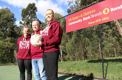 Members from Mt Evelyn Netball club at the netball courts