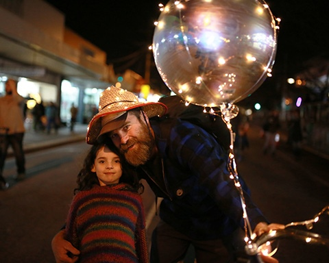 Man and a young girl holding their lantern at the Belgrave Lantern Festival