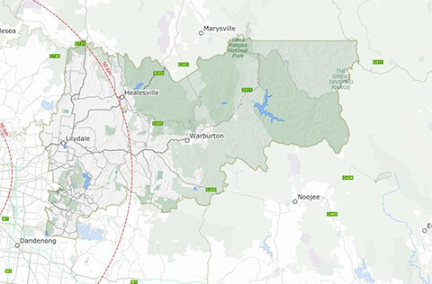 Map of Yarra Ranges